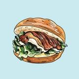 Vektorzeichnung des Burgers Lizenzfreies Stockfoto