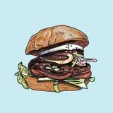Vektorzeichnung des Burgers Stockfoto