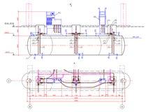 Vektorzeichnung des Untertagebeckens Stockbild