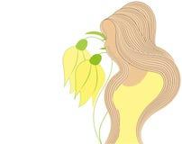Vektorzeichnung einer Schönheit mit dem langen Haar kann als Visitenkarten und Werbung und Einladung und Gutschein benutzt werden Stockbild