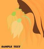 Vektorzeichnung einer Schönheit mit dem langen Haar kann als Visitenkarten und Werbung und Einladung und Gutschein benutzt werden Lizenzfreies Stockbild