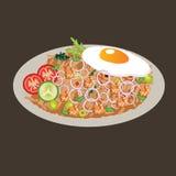 Vektorzeichnungsillustration cusine Lebensmittelasiat des gebratenen Reises Stockfotos