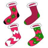 Vektorzeichnungssatz Socken Helles Gestaltungselement Verwenden Sie als Aufkleber, dekorative Idee Feiern von Weihnachten und von vektor abbildung