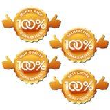 Vektorzufriedenheit 100% garantierte Kennsätze Stockbilder