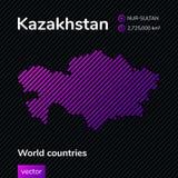 Vektorzusammenfassungskarte von Kasachstan Neue Hauptstadt von Kasachstan - Nur-Sultan stock abbildung
