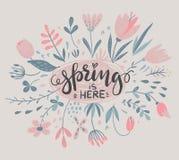 Vektorzusammensetzung mit Frühlingsblumen, Blätter, Niederlassungen stock abbildung