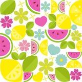 Vektorzusammensetzung mit Früchten und Blumen Stockbild
