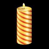 Vela amarilla de la Navidad Fotografía de archivo libre de regalías
