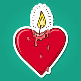 Vela ardiente en forma de corazón Fotografía de archivo libre de regalías