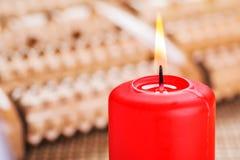 Vela ardiente roja Imagen de archivo libre de regalías