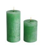 Dos velas verdes Imagen de archivo libre de regalías