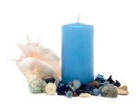 Vela azul com decoração Imagens de Stock