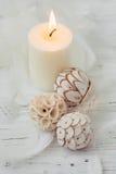 Vela blanca de la palma con la decoración natural para el balneario Imágenes de archivo libres de regalías