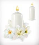 Vela branca e flores brancas ilustração do vetor