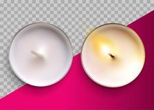 Vela clássica do vetor realístico em um copo do metal Lit e velas brancas Unlit de Tealight da cera Vista superior Elemento festi ilustração stock