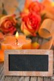 Vela com rosas Fotos de Stock Royalty Free