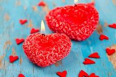 Vela, corações e fitas vermelhos Fotografia de Stock Royalty Free