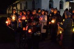 A vela da ação da memória em honra de Victory Day na guerra mundial 2 pode 9, 2016 na região de Kaluga em Rússia Imagem de Stock