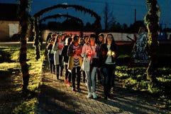 A vela da ação da memória em honra de Victory Day na guerra mundial 2 pode 9, 2016 na região de Kaluga em Rússia Foto de Stock