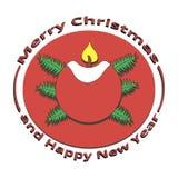 Vela da imagem com fogo no Natal e no ano novo Foto de Stock Royalty Free