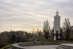 Vela da memória - 32 medem a capela concreta, Kiev, Ucrânia Imagem de Stock Royalty Free