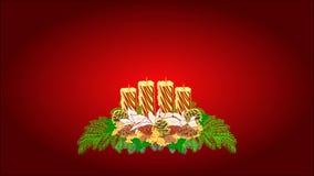 Vela de la guirnalda del advenimiento de la Feliz Navidad con los conos blancos de la poinsetia y del pino video stock de ilustración