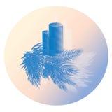 Vela de la Navidad con el azul del rosa del árbol Fotografía de archivo