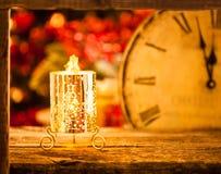 Vela de la Navidad en la medianoche Fotografía de archivo
