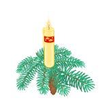 Vela de la Navidad en rama spruce con vector del pinecone Imagenes de archivo