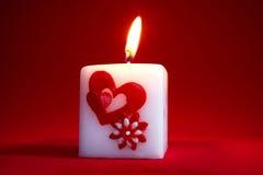 Vela de la tarjeta del día de San Valentín Fotos de archivo libres de regalías