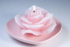 Vela de la tarjeta del día de San Valentín Imagen de archivo libre de regalías