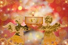 Vela de los ángeles de la Navidad Foto de archivo libre de regalías