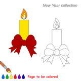 Vela de Navidad con la historieta del vector del arco que se coloreará Imágenes de archivo libres de regalías