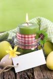 Vela de Pascua, escritura de la etiqueta Fotos de archivo libres de regalías