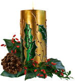 Vela decorativa do Natal Fotografia de Stock Royalty Free
