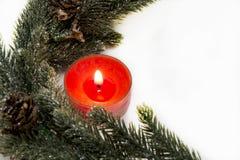 Vela decorativa vermelha do Natal Foto de Stock