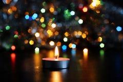 vela del Año Nuevo en fondo borroso Fotografía de archivo libre de regalías