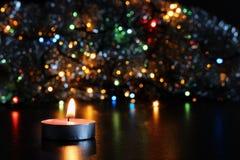 vela del Año Nuevo en fondo borroso Imagen de archivo