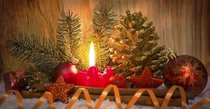 Vela del advenimiento del und de la decoración de la Navidad Fotografía de archivo libre de regalías