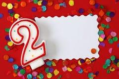 Vela del cumpleaños del dos de número Imagen de archivo