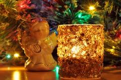 vela del Nuevo-año y juguete del abeto imagen de archivo libre de regalías