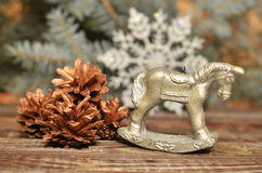 Vela del ` s del Año Nuevo bajo la forma de caballo Imagen de archivo libre de regalías