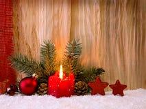 Vela do advento do und da decoração do Natal Fotografia de Stock