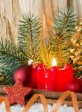 Vela do advento do und da decoração do Natal Fotos de Stock Royalty Free