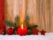 Vela do advento do und da decoração do Natal Fotografia de Stock Royalty Free