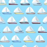 A vela do mar yachts o teste padrão sem emenda ilustração royalty free