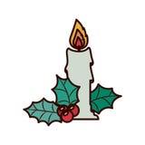 Vela do Natal com folhas do ornamento Foto de Stock Royalty Free
