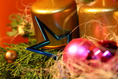 Vela e estrela do Natal Foto de Stock Royalty Free