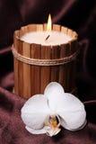 Vela e orquídea dos termas Foto de Stock