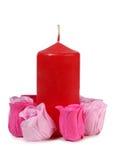 Vela e rosas Imagem de Stock Royalty Free